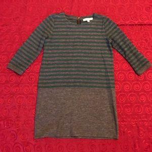 LOFT Sweater Striped Green Gray Mini Pencil Dress